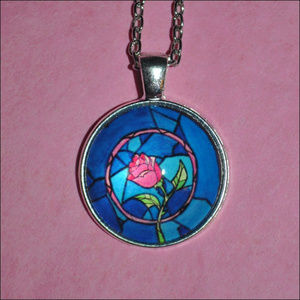 Jewelry - Beauty and the Beast Rose Dome Necklace